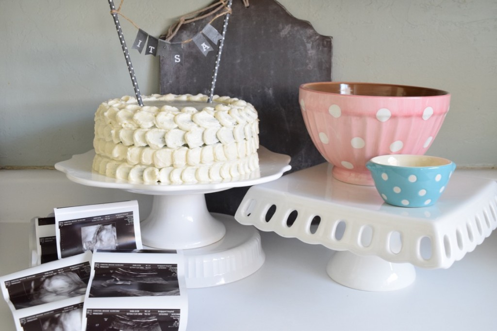 birth announcement with surprise cake