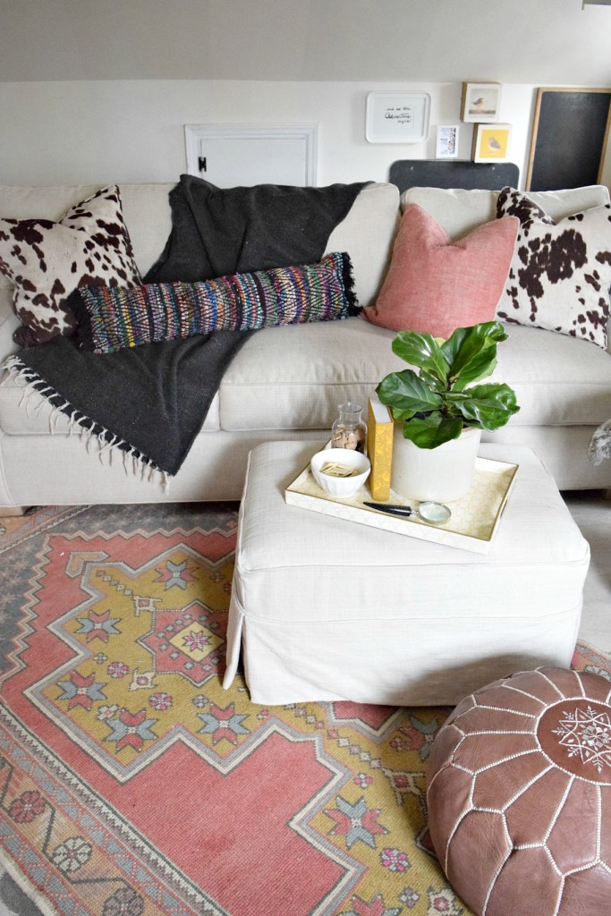 bohemian diy rug turned pillow 2