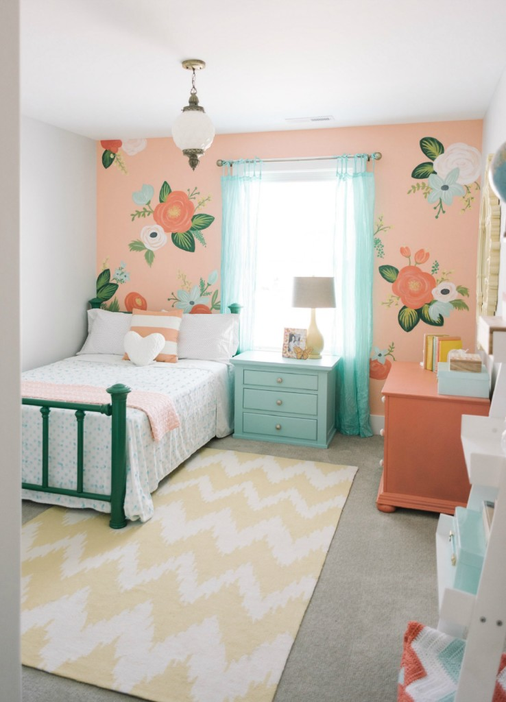 Kids space with design loves details nesting with grace - Flower wall designs for a bedroom ...