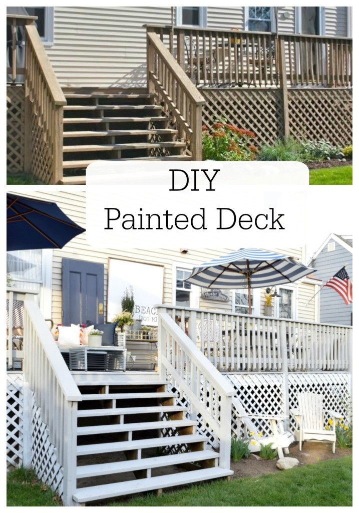 DIY painted deck before and after