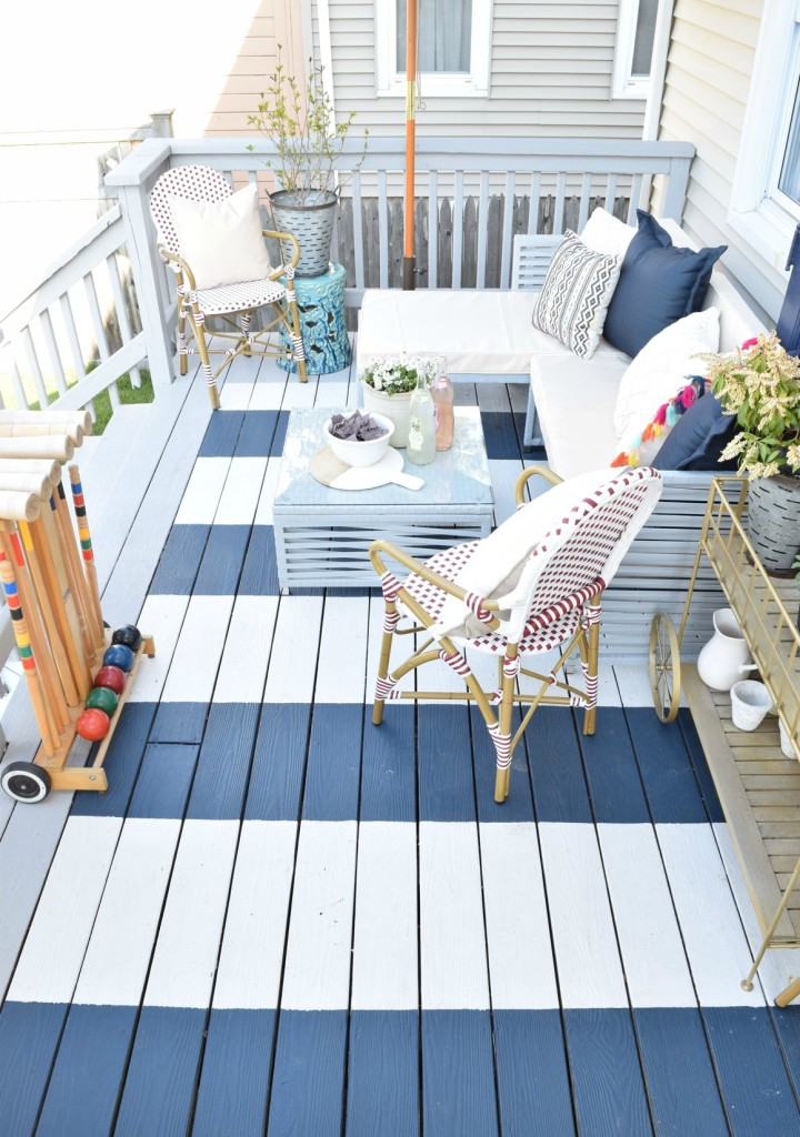 Diy painted deck and decor nesting with grace - Home decorators carpet paint ...
