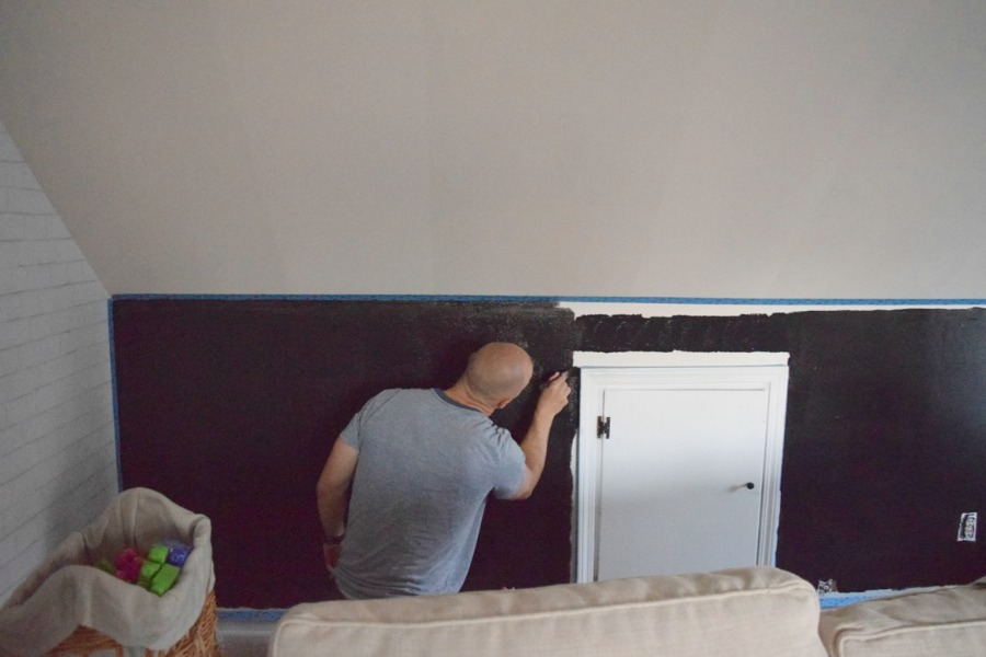 family room chalkboard painted wall