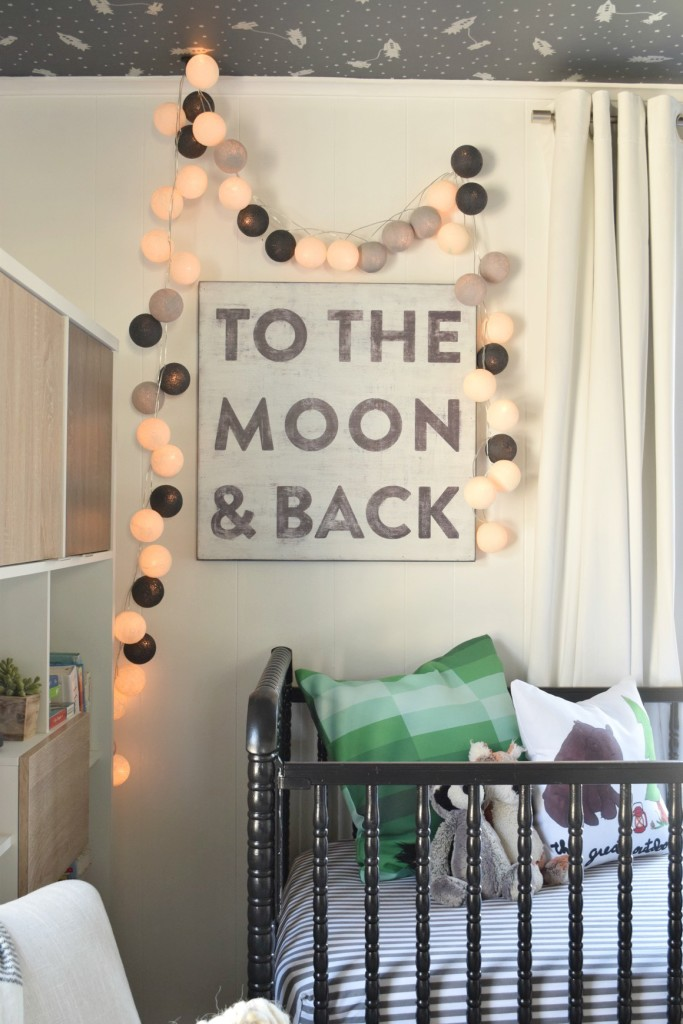 baby boy nursery to the moon and back and lights