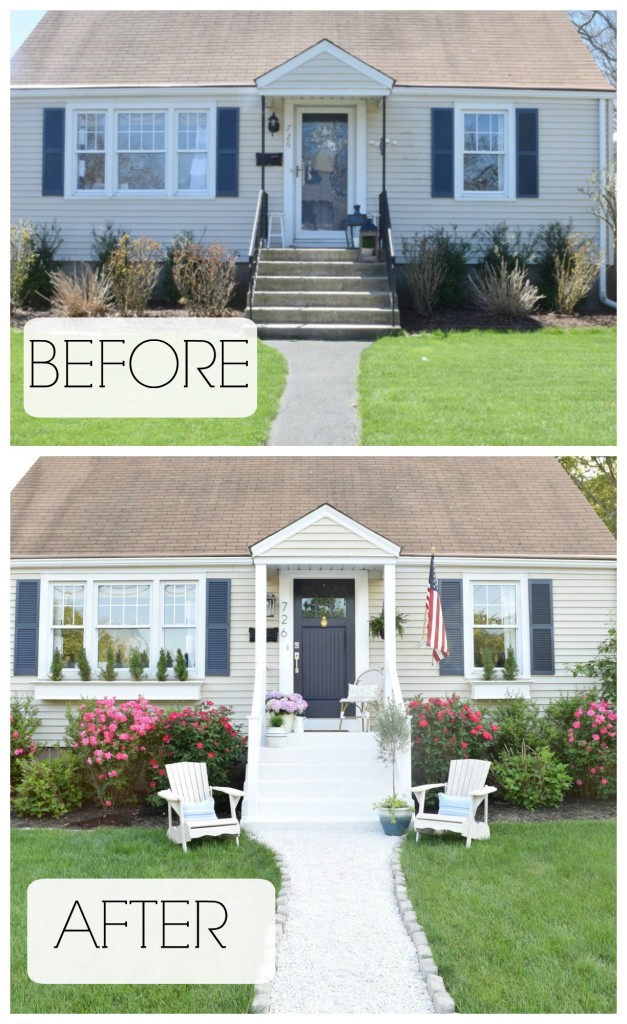 Adding a porch to a house before and after joy studio for Exterior home redesign