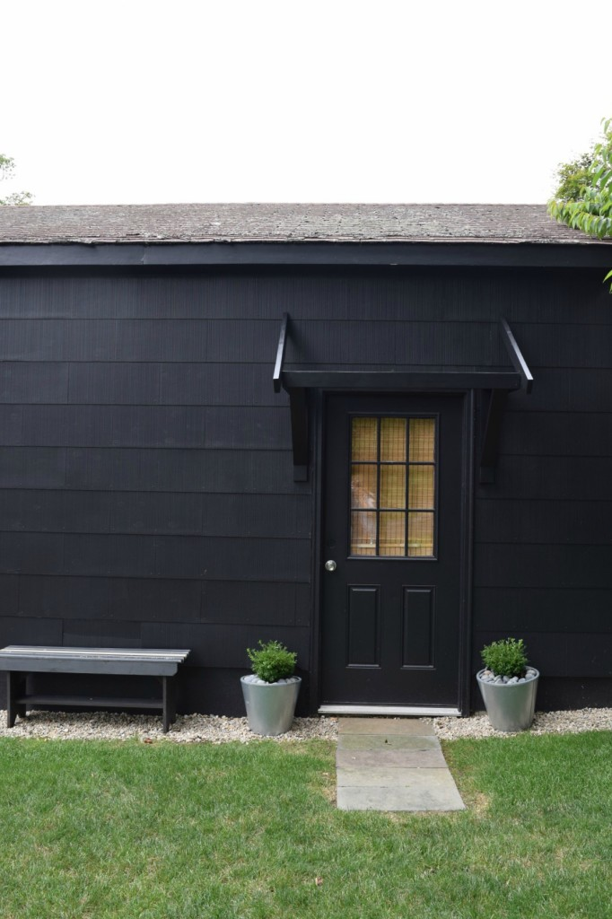 Painted black shed