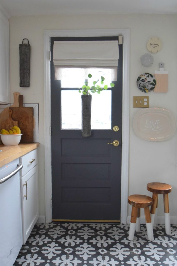 gray paint change up on our interior kitchen door. Black Bedroom Furniture Sets. Home Design Ideas