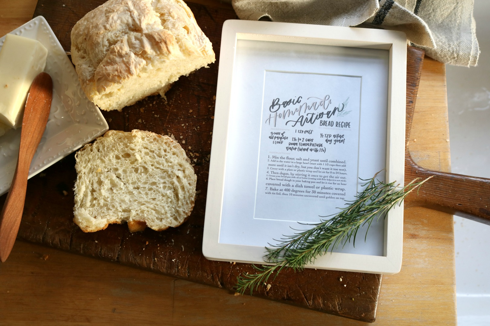 FREE Printable for Homemade Artisan Bread Recipe