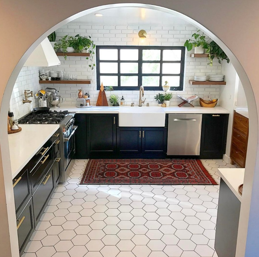 Friday Favorites- Kitchen white hexagon tile and dark cabinets