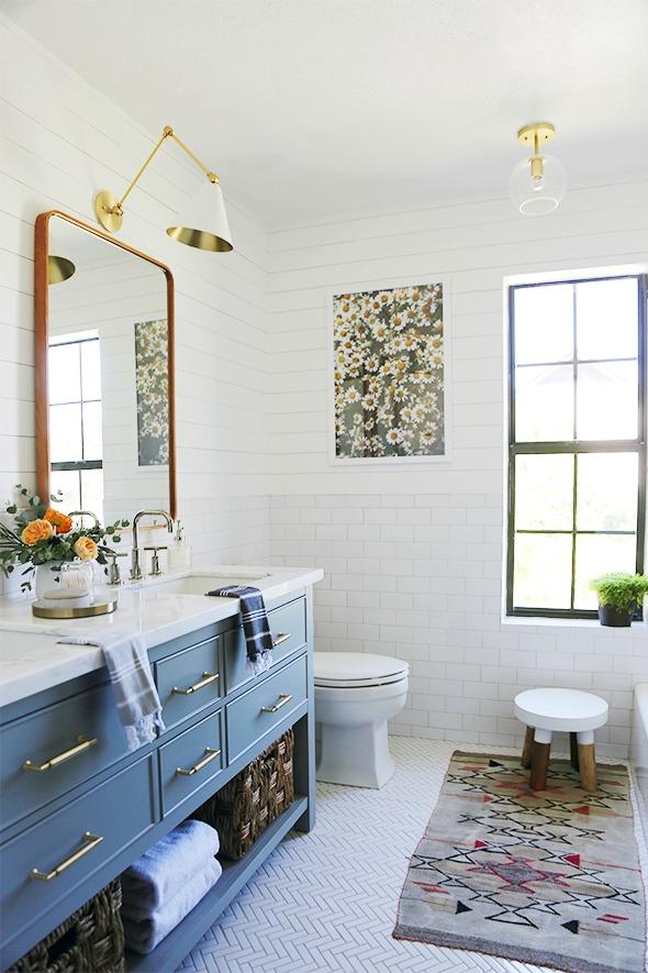 Friday Favorites- White Bathroom Remodel Herringbone Floor