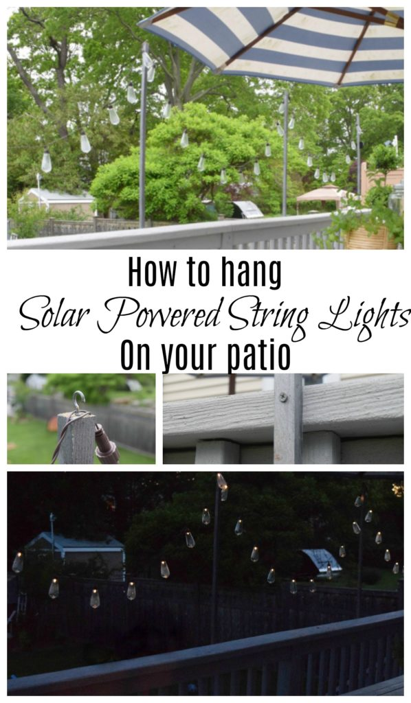 Patio String Lights- Solar Powered and DIY Wood Poles