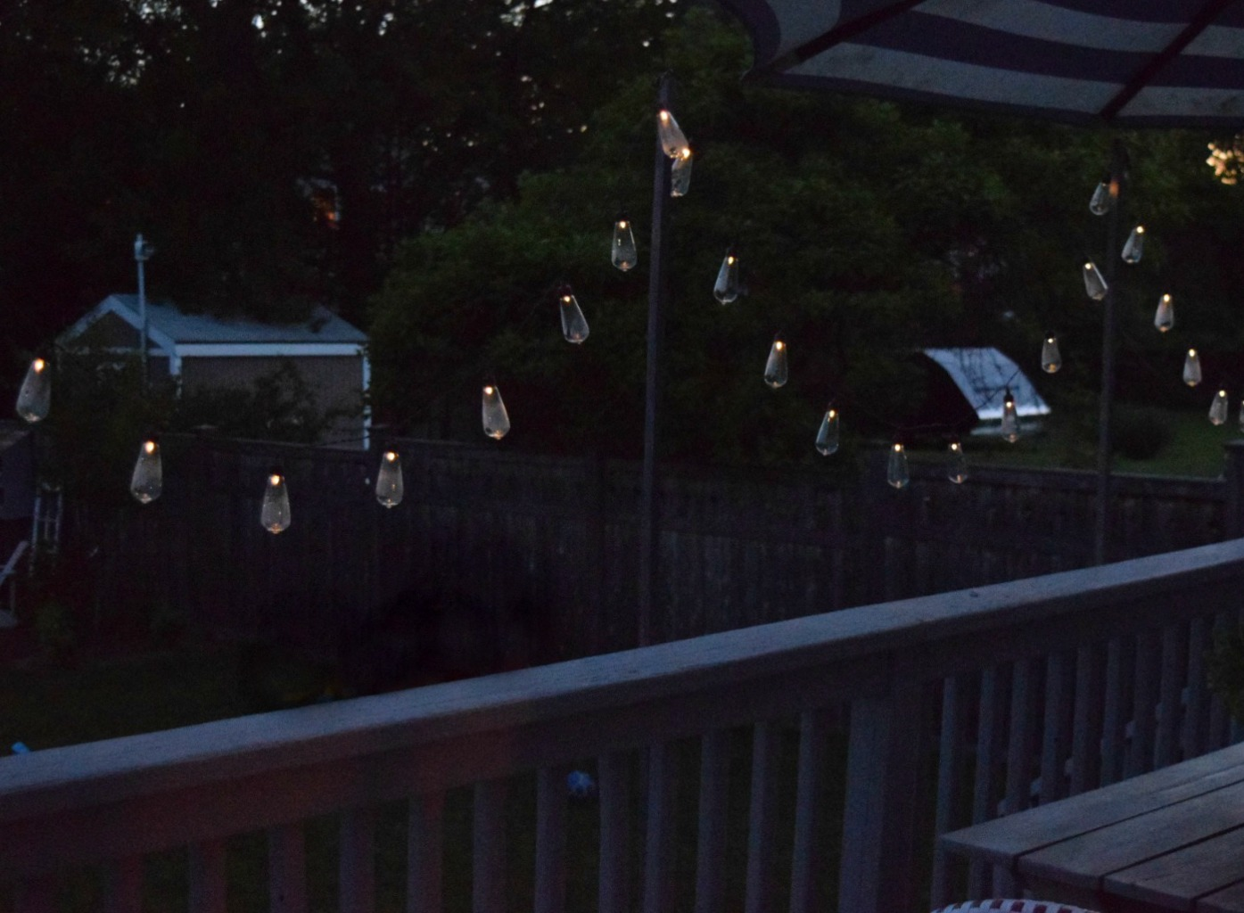 Solar Line Lights Part - 46: Patio String Lights- Solar Powered And DIY Wood Poles