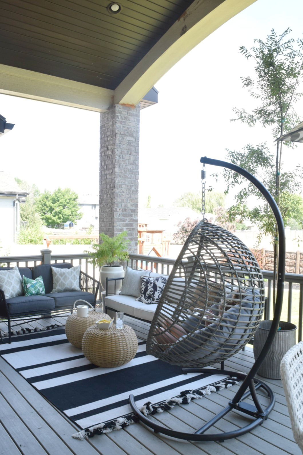 Outdoor Patio and Living Space with Hanging Chair ... on Living Spaces Patio Set id=27448