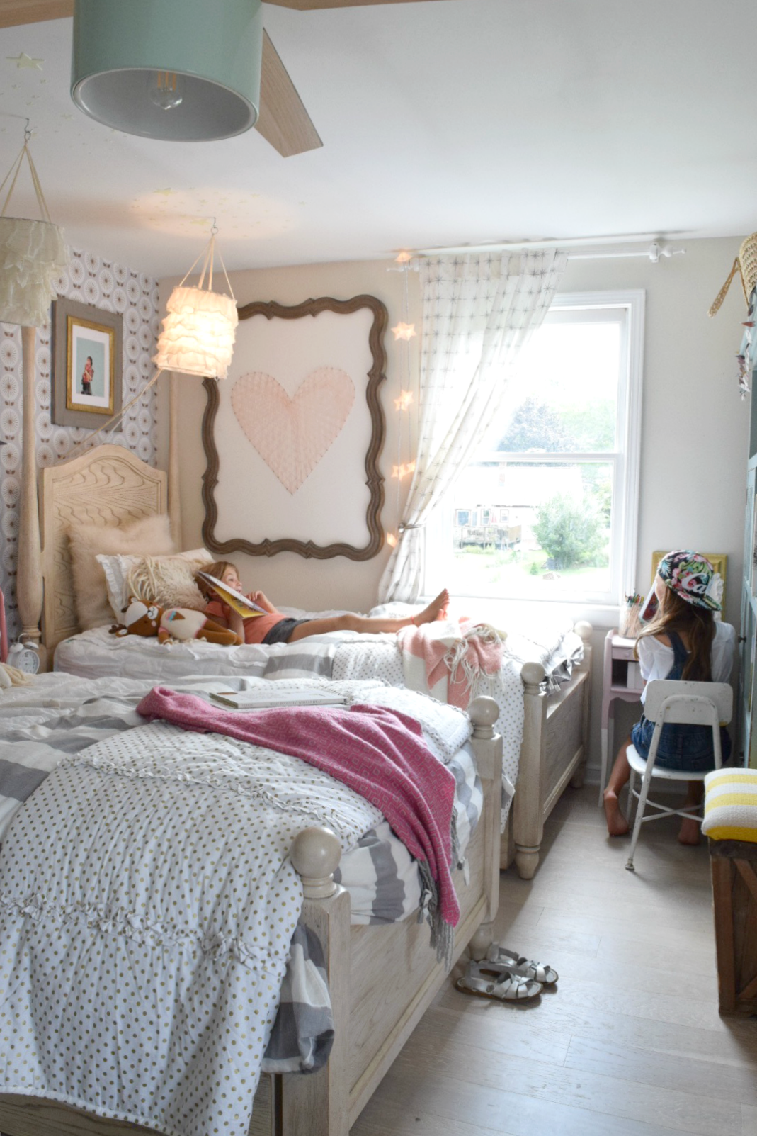 Girls Shared Bedroom- Easiest Way To Add Character with Wallpaper 029