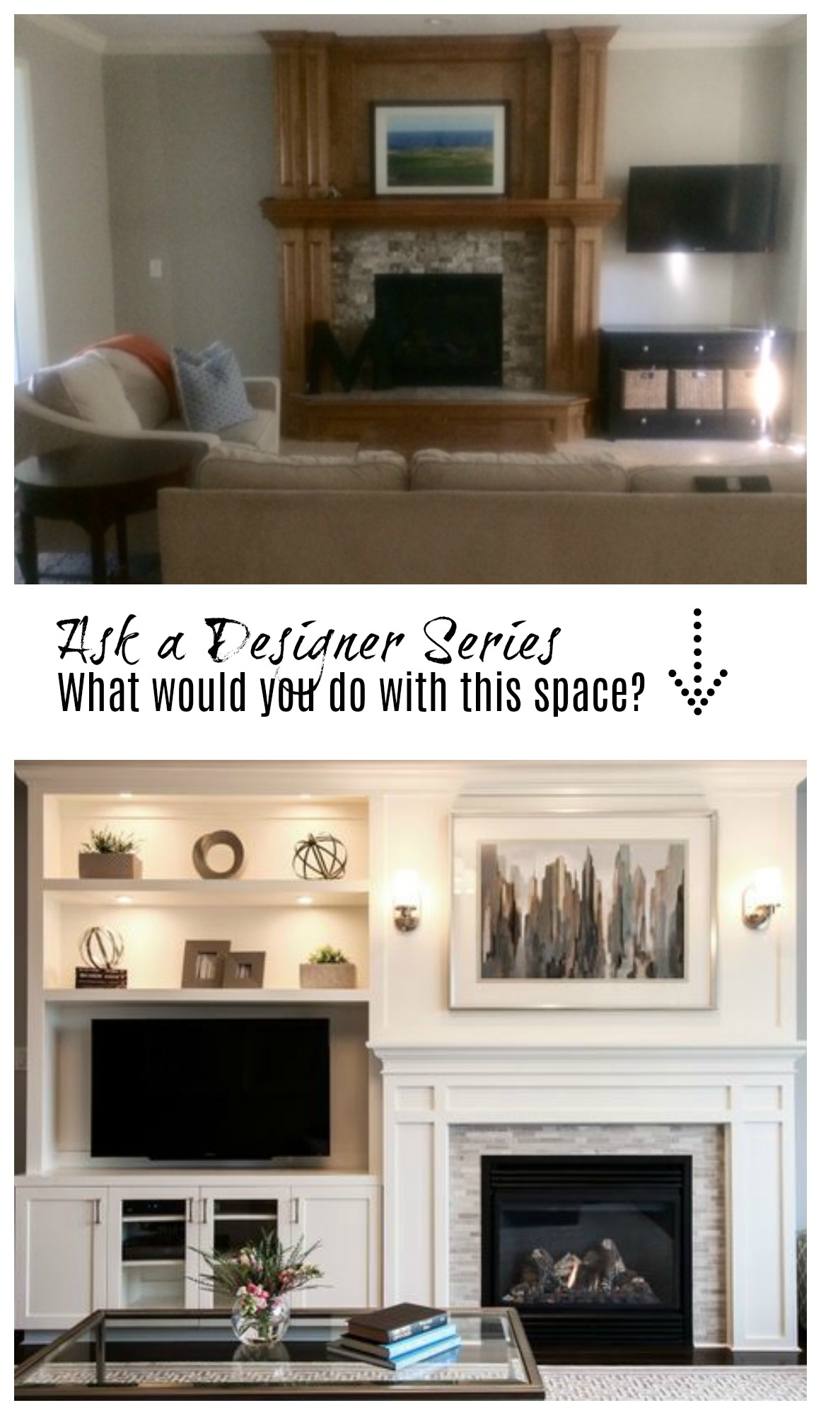 Ask a Designer Series- What would you do with this Fireplace?