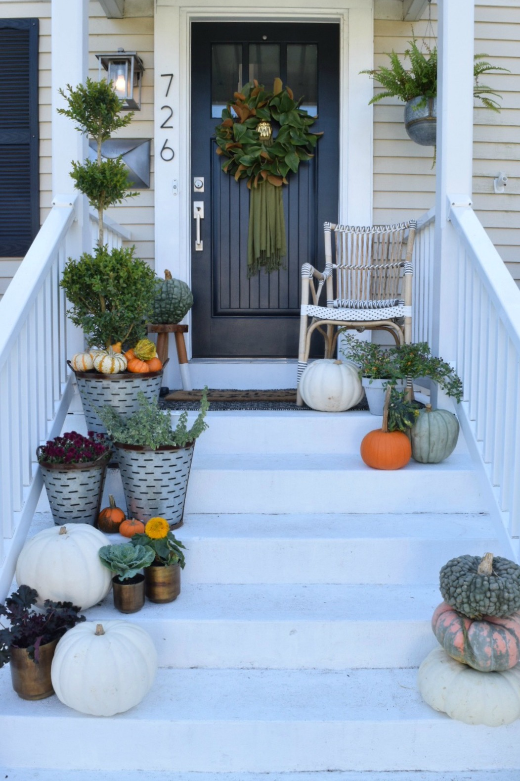 Fall Front Porch Before with chair