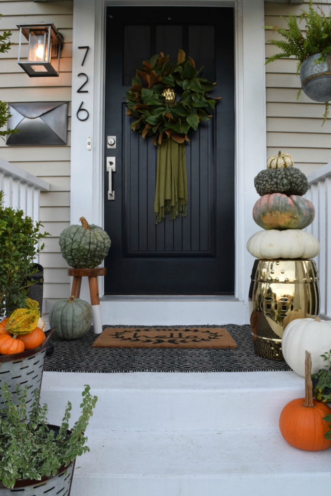 Fall front porch outside our little cape nesting with grace - Fall natural decor ideas rich colors ...