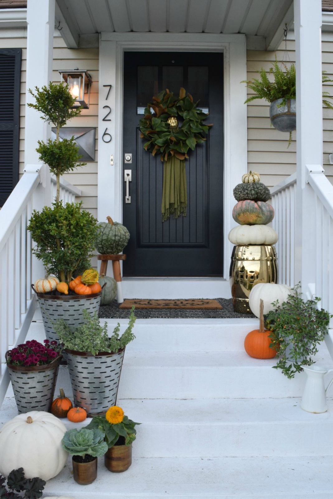 Fall Front Porch Decor- Rich Colors and all the Pumpkins