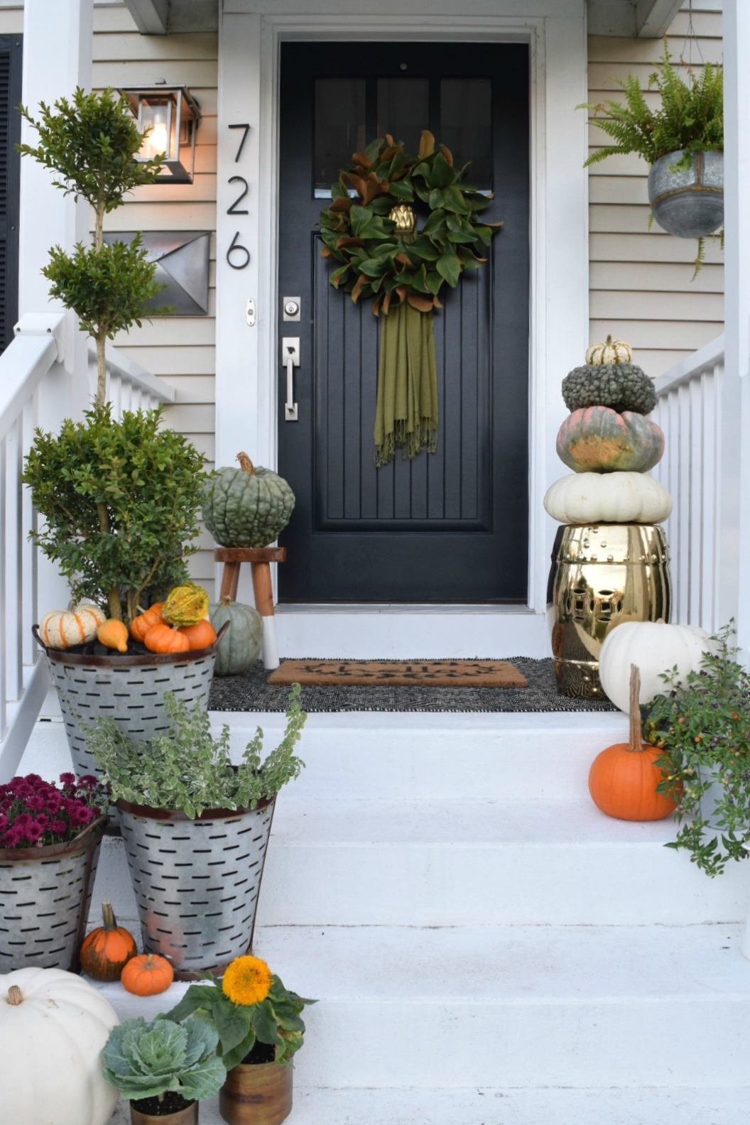 Fall front porch outside our little cape nesting with grace - Fall front porch ideas ...