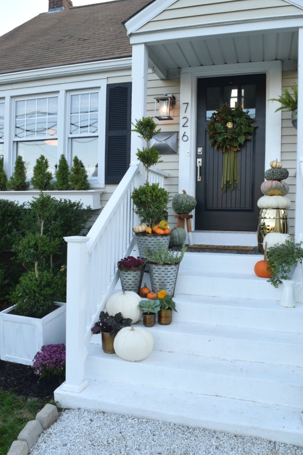 Fall Front Porch Decor- Rich Colors and all the Pumpkins & Fall Front Porch- Outside Our Little Cape - Nesting With Grace Pezcame.Com