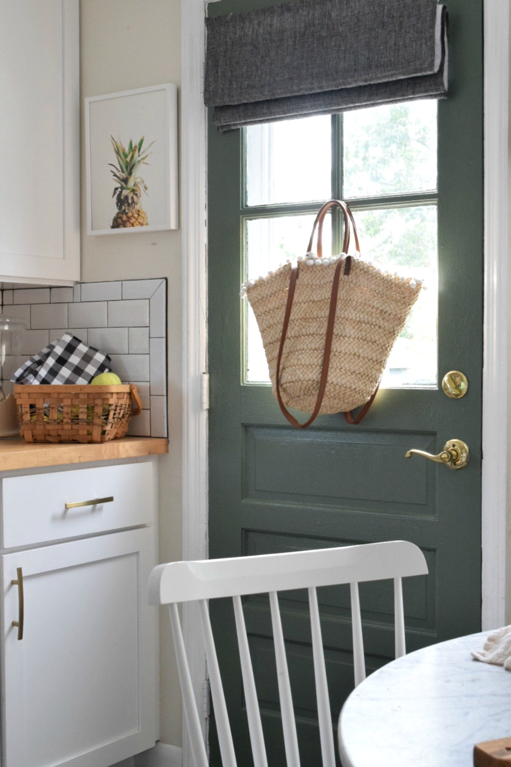 Fall Kithcen Decor- Painted Green Door- Cushing Green Benjamin Moore