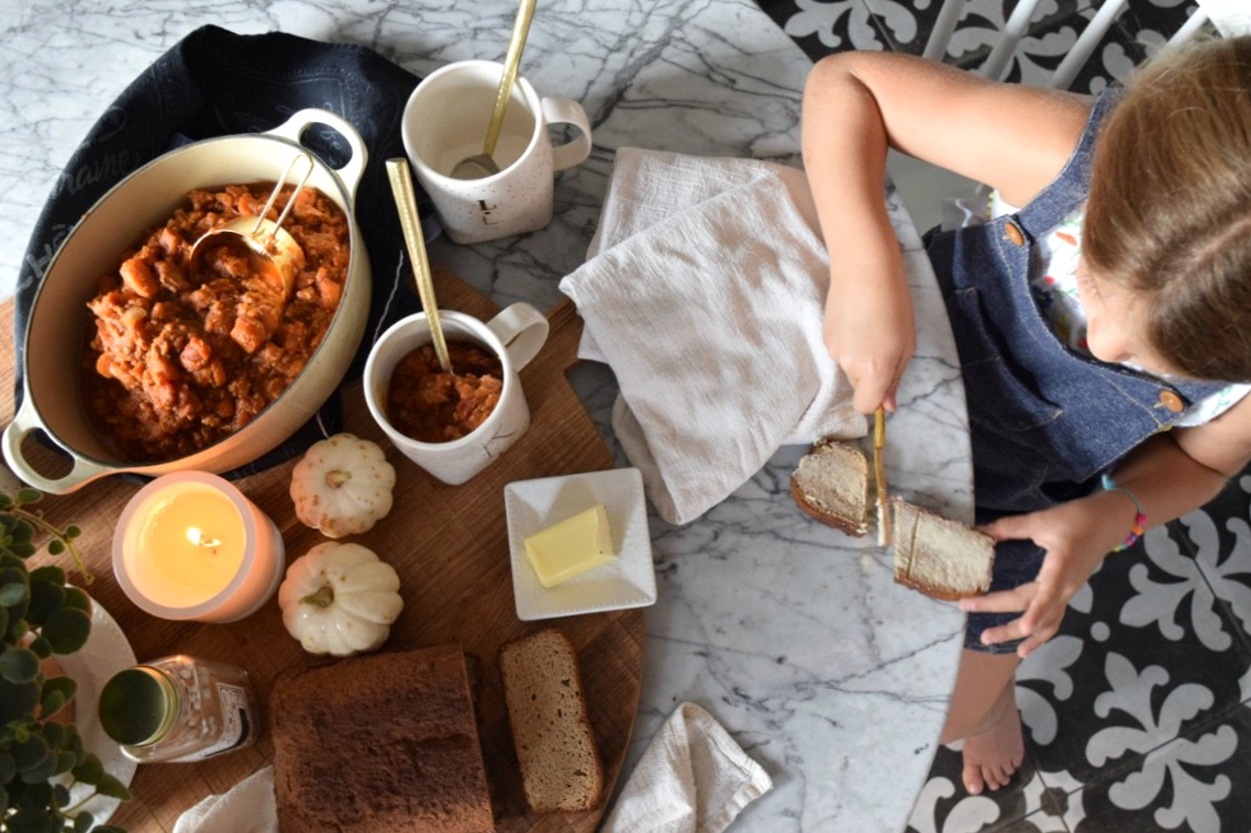 Paleo and Gluten-Free Fall Dinner- Pumpkin Chili with Paleo BREAD!