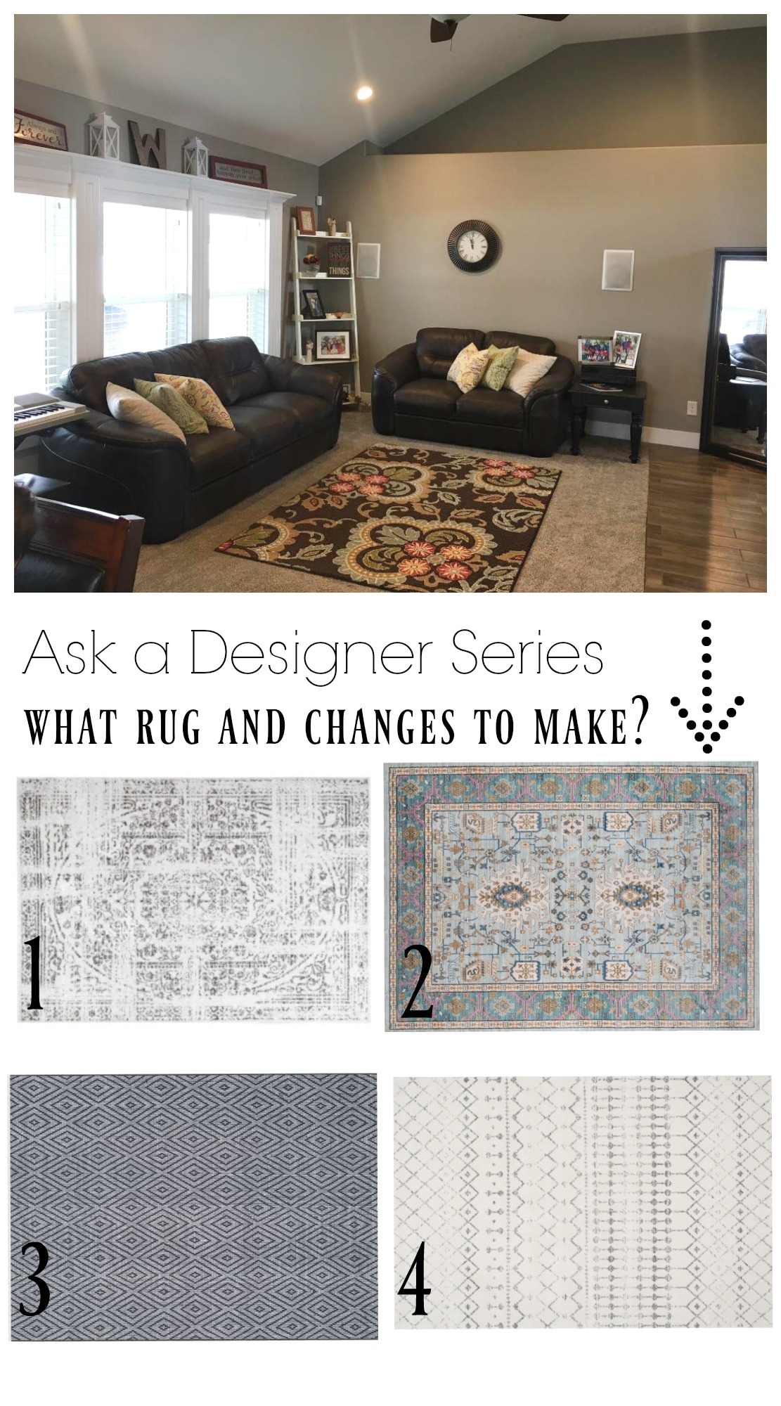 Ask a Designer Series- What Rug to do in our Family Room?