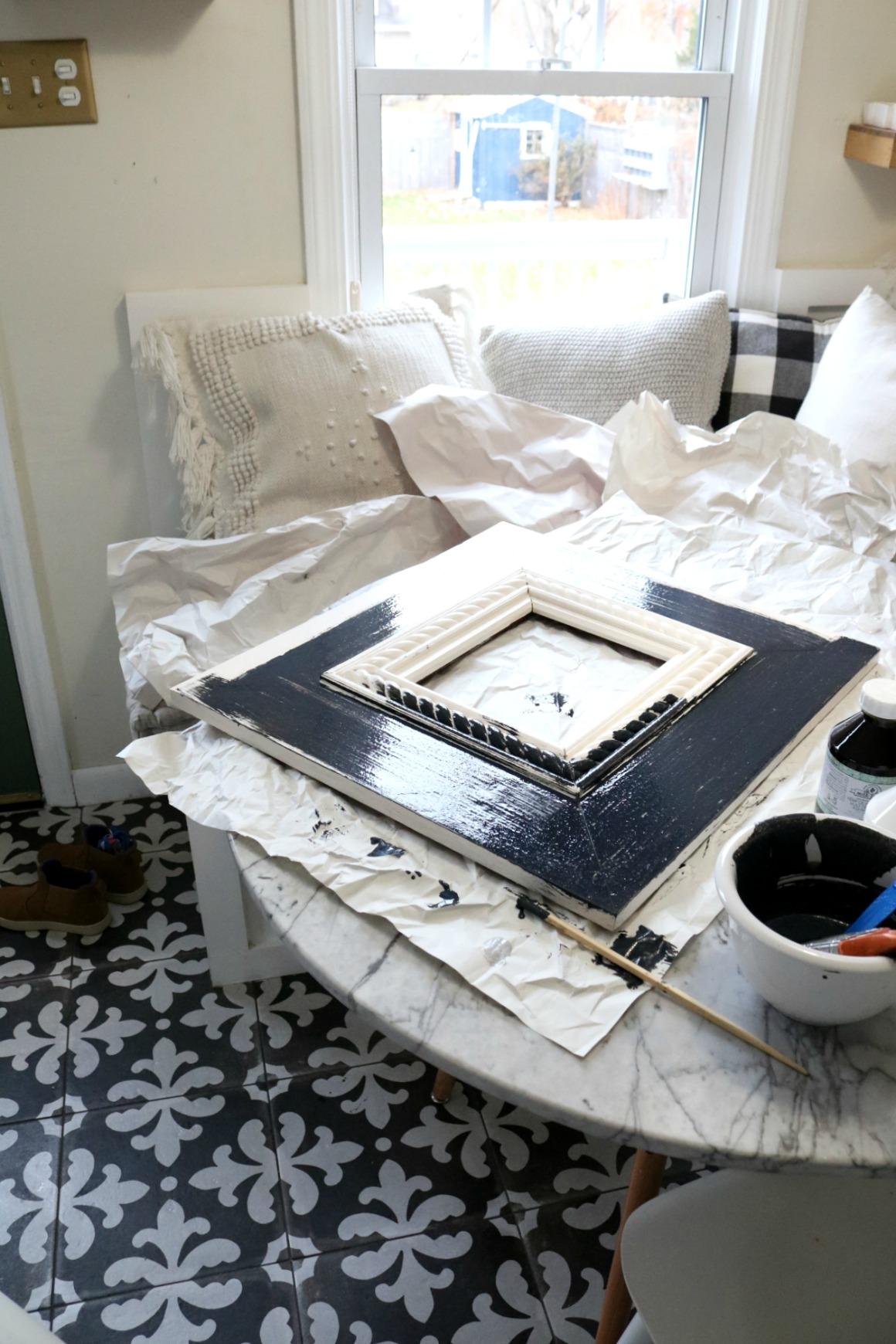 My Experience with Milk Paint on Frames up the Stairs