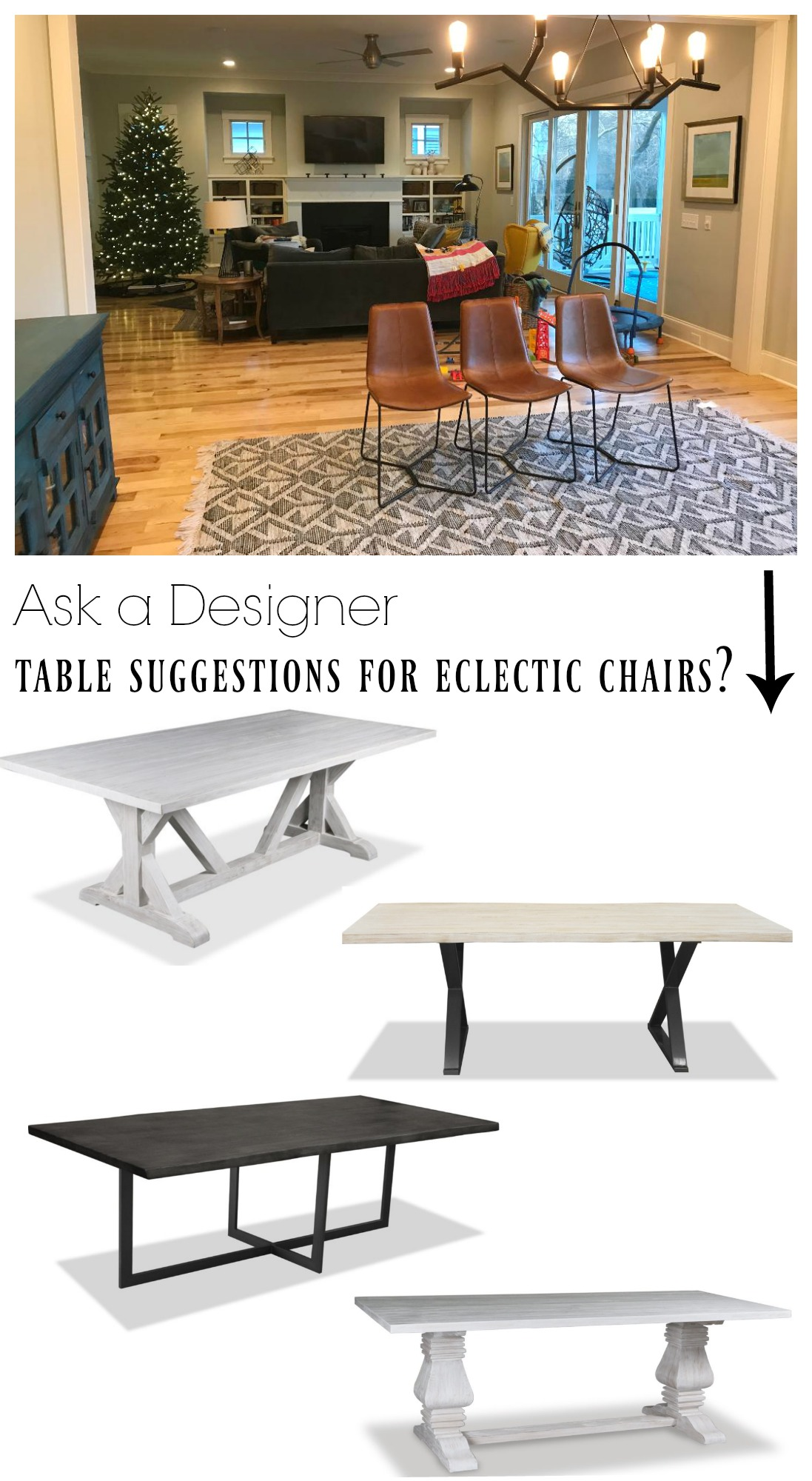 Ask a Designer- Table Suggestions for Eclectic Chairs?