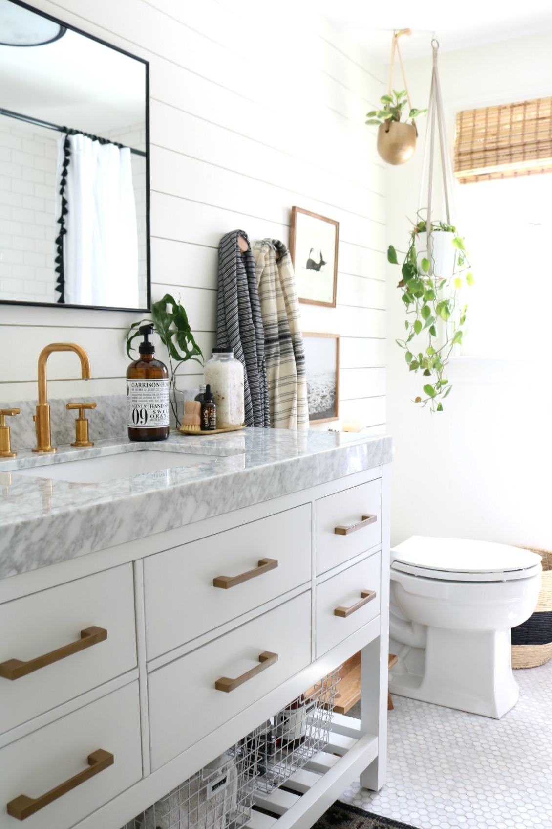 Bathroom Remodel- Black, Gold and Marble Accents