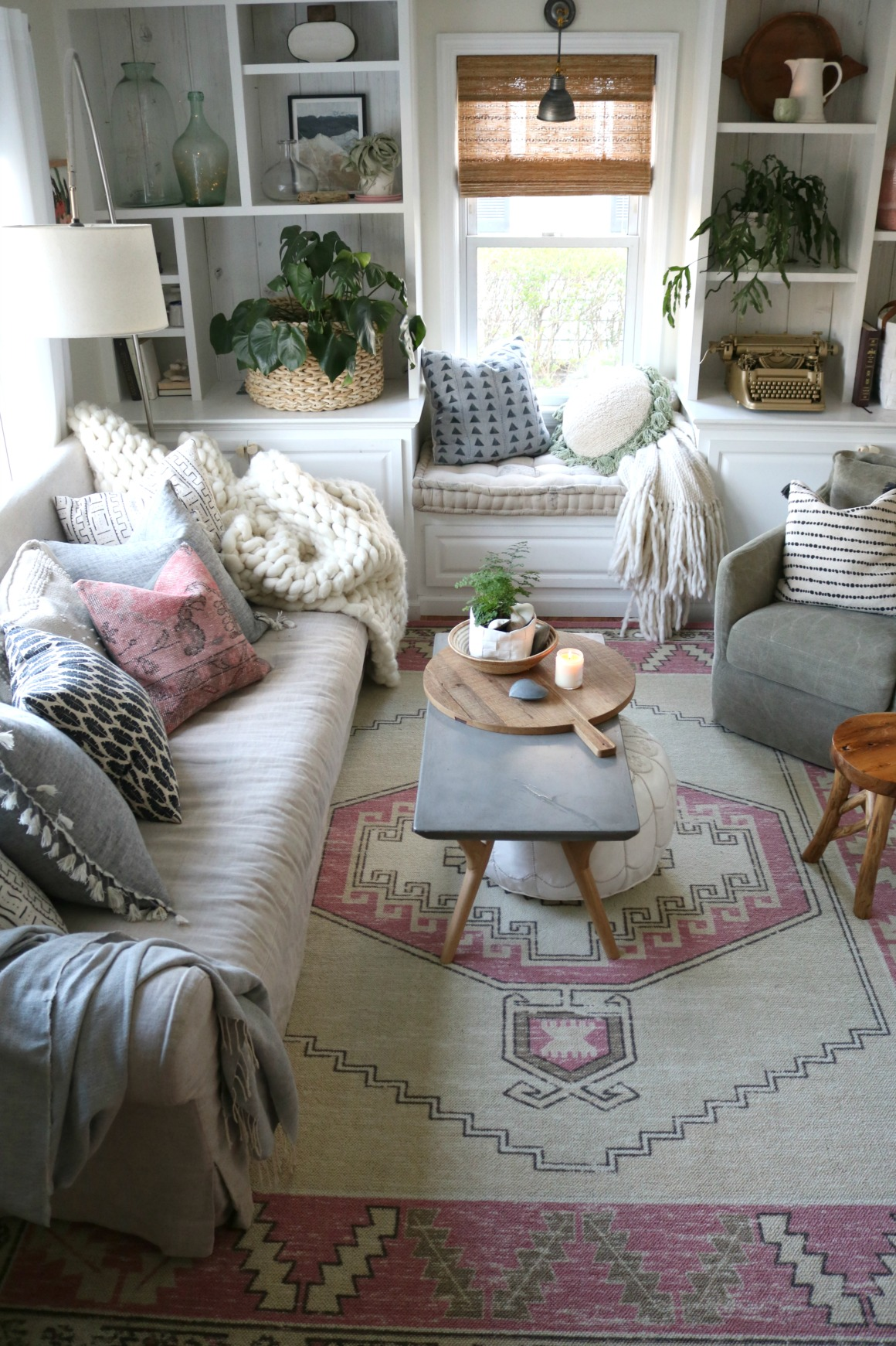 Eclectic Family Room New Area Rug with Touches of Pink