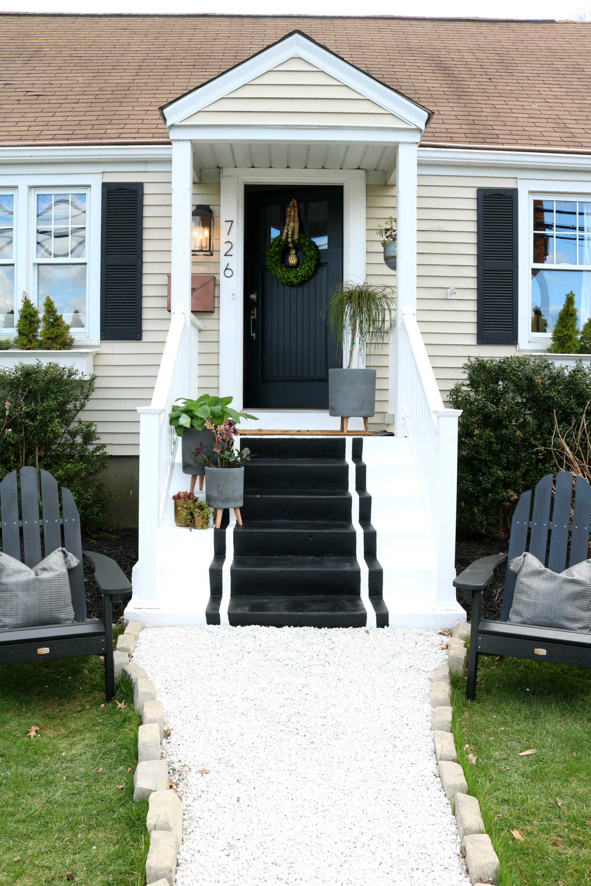 front porch spring reveal with painted steps nesting with grace. Black Bedroom Furniture Sets. Home Design Ideas