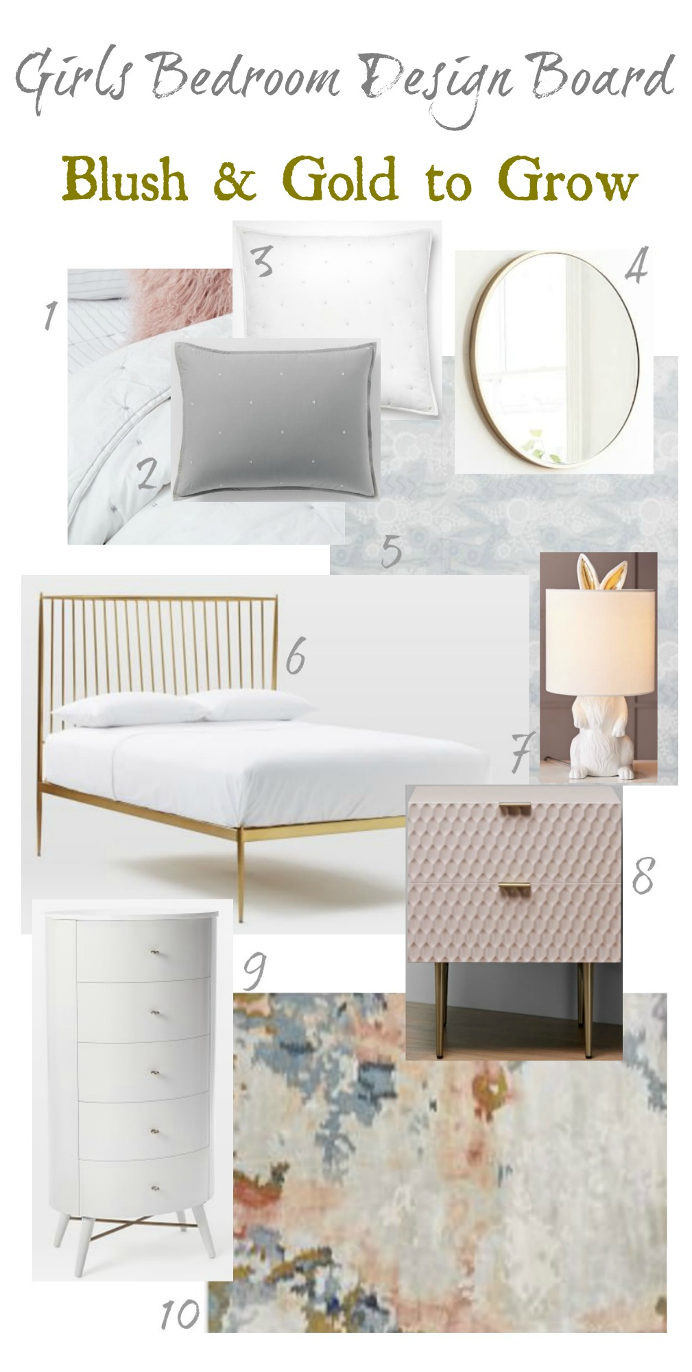 Girls Bedroom Inspiration- Blush and Gold to Grow with her