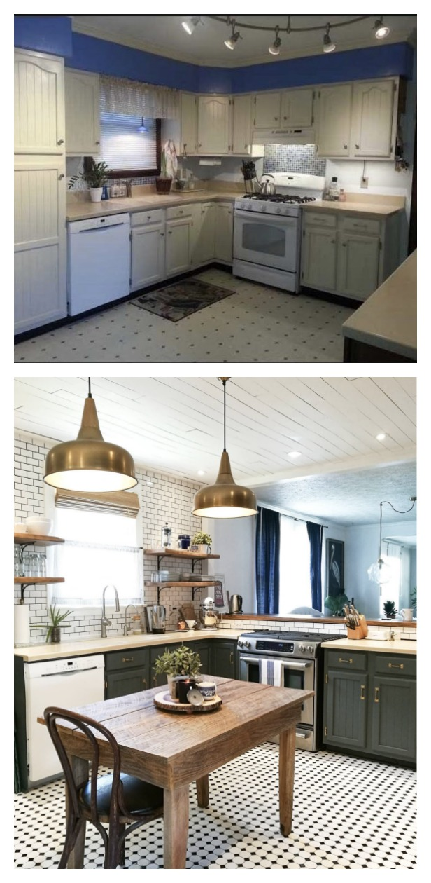 Before and After- Kitchen Painted Cabinets