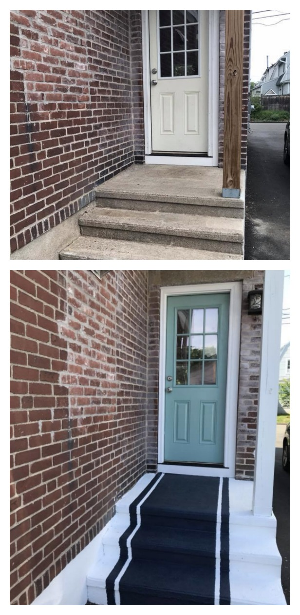 Before and After- Painted Cement Steps