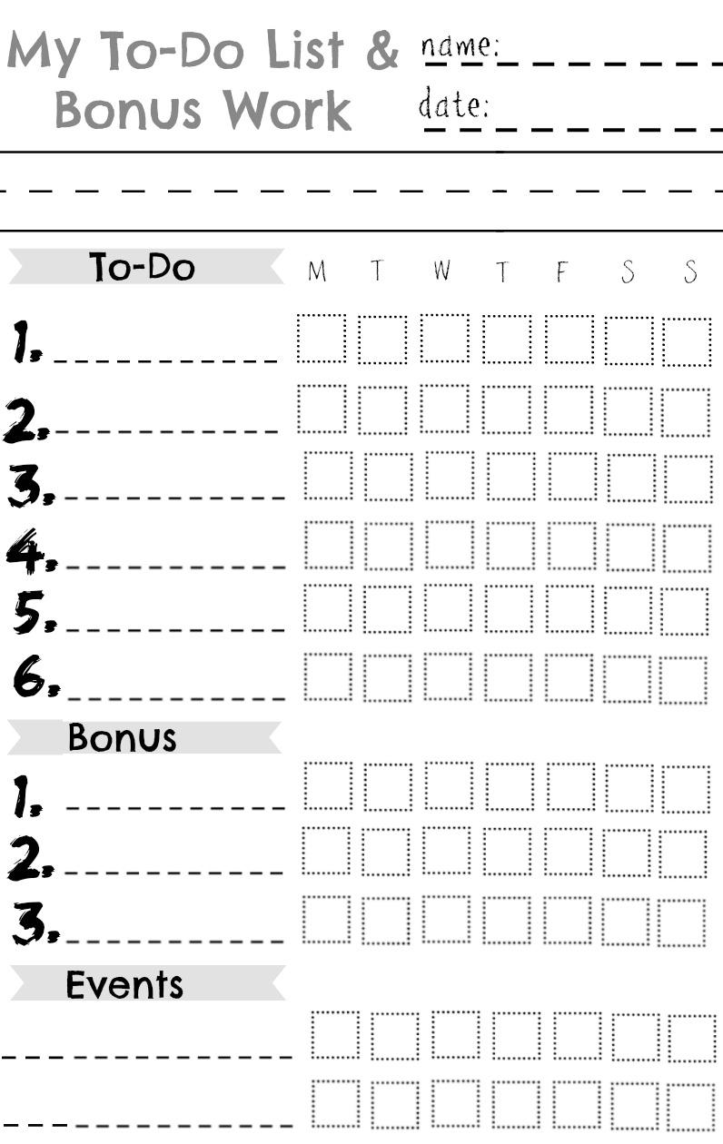 Kids Chore Chart- Summer Chart