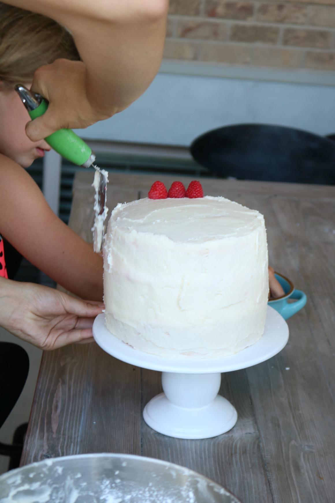EASY- Lemon Poppyseed Raspberry Cake with Cream Cheese Frosting