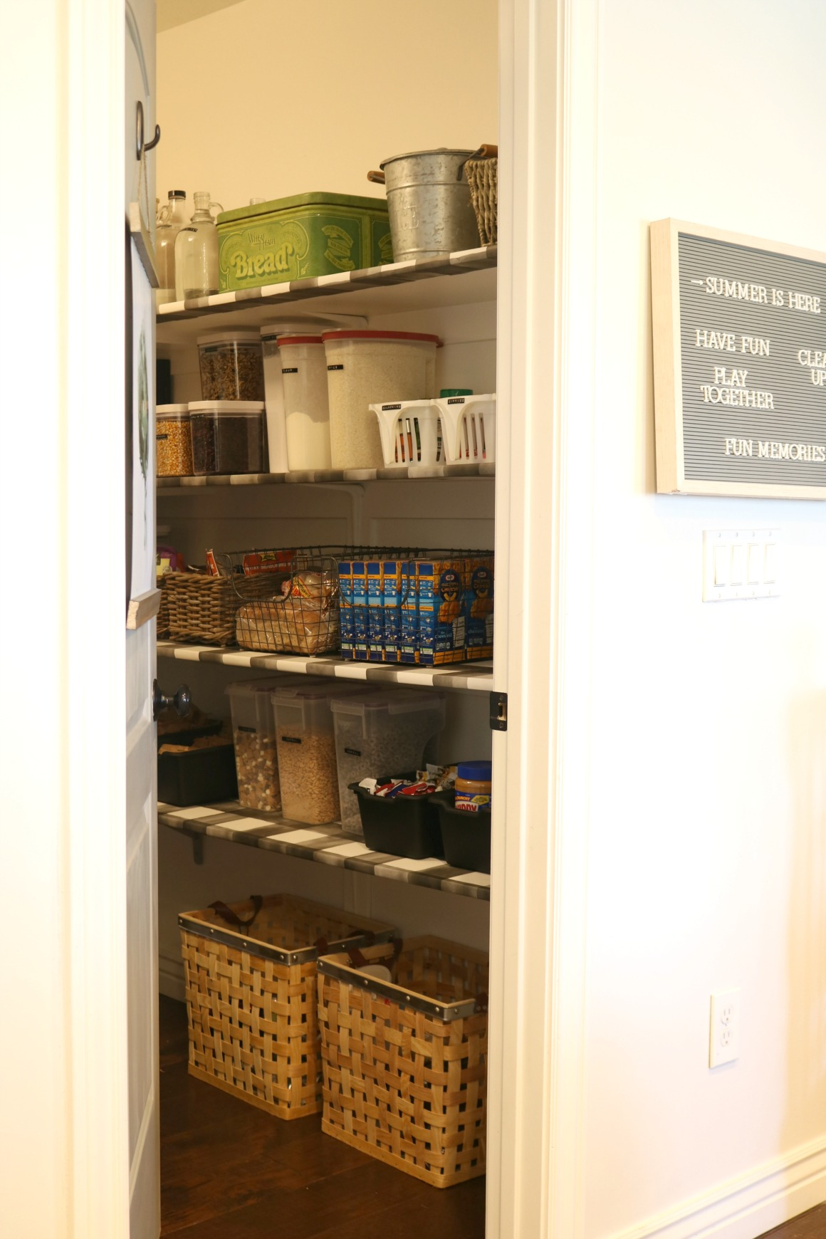 Pantry Organization with Wallpaper Shelves