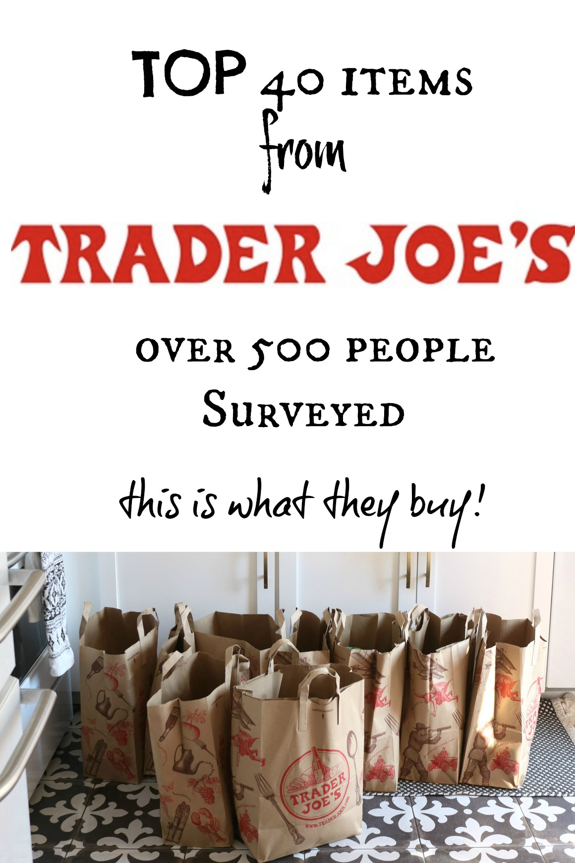 Trader Joe's Top 40 Items out of a 500 person Survey