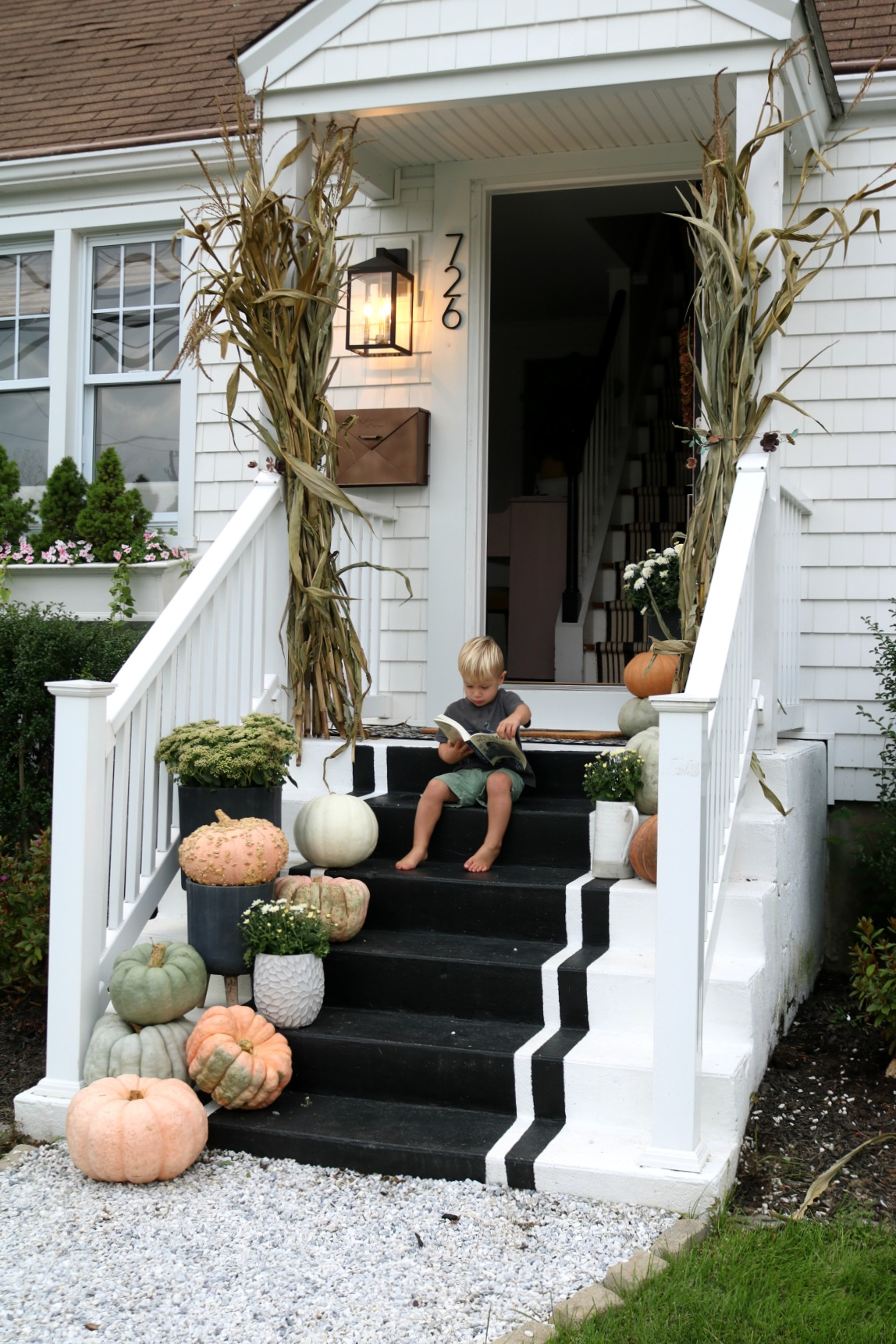 Fall Porch with Pink Touches
