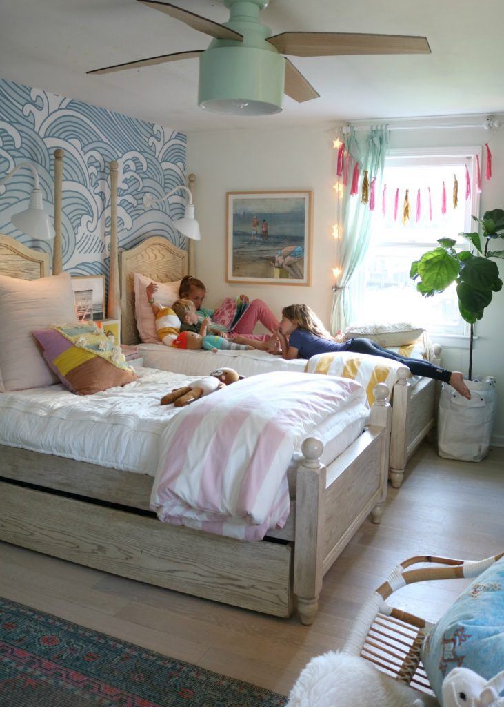 Girls Shared Bedroom with Temporary Wallpaper