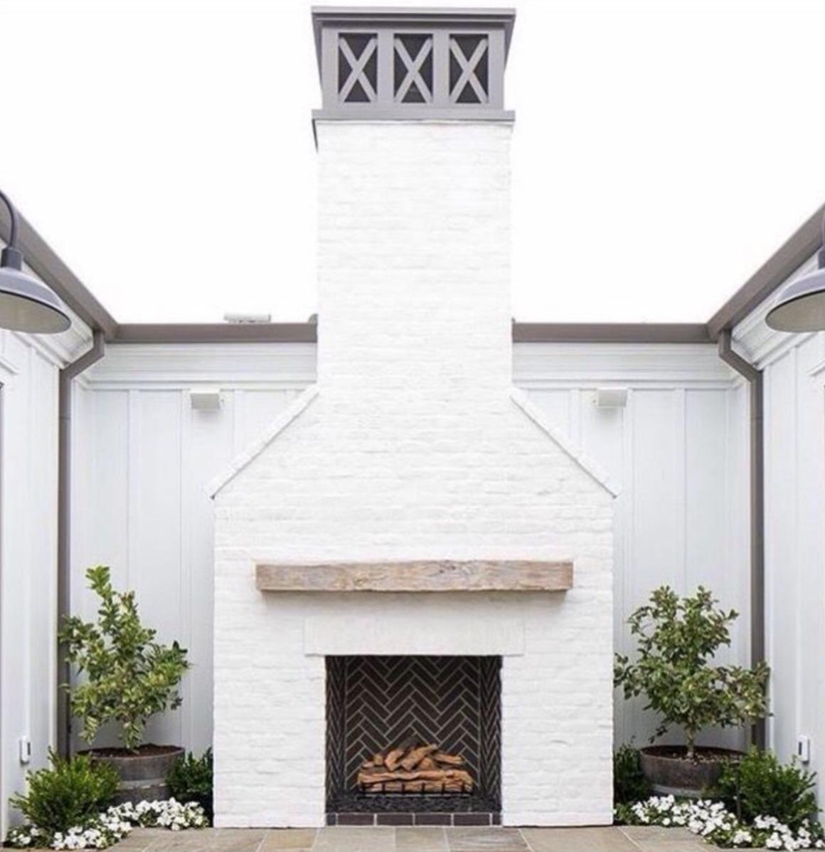 Fireplace Ideas- Painted White Brick