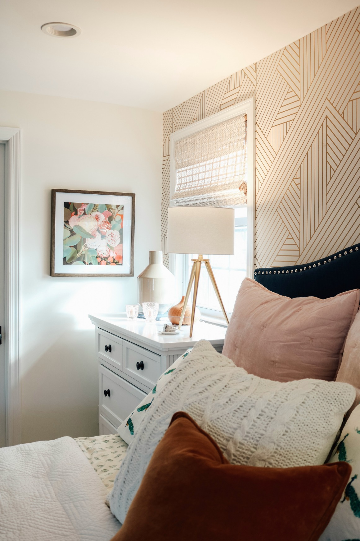 Bedroom Makeover Dark Furniture To Bright White With Wallpaper Accent Wall Nesting With Grace