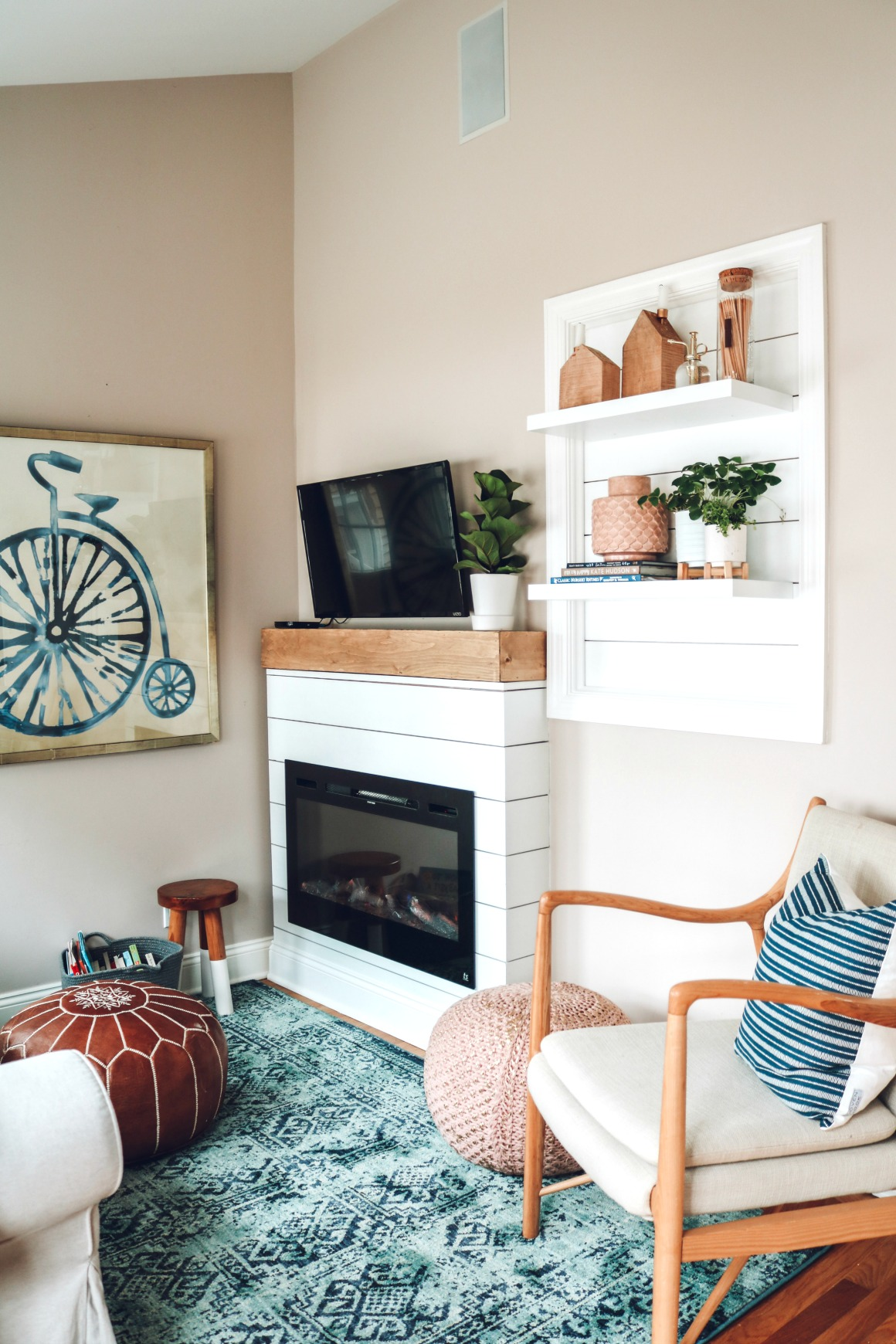 Sun Room Makeover- Electric Fireplace