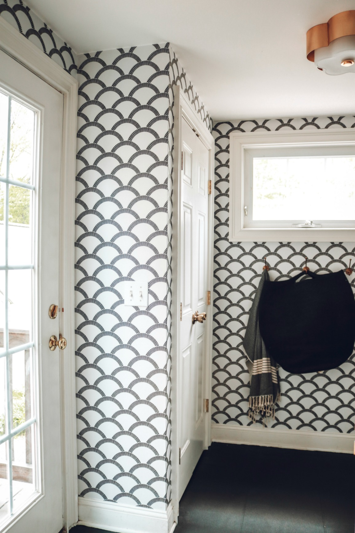 Laundry Room- Removable Wallpaper and Painted Laminate Floor