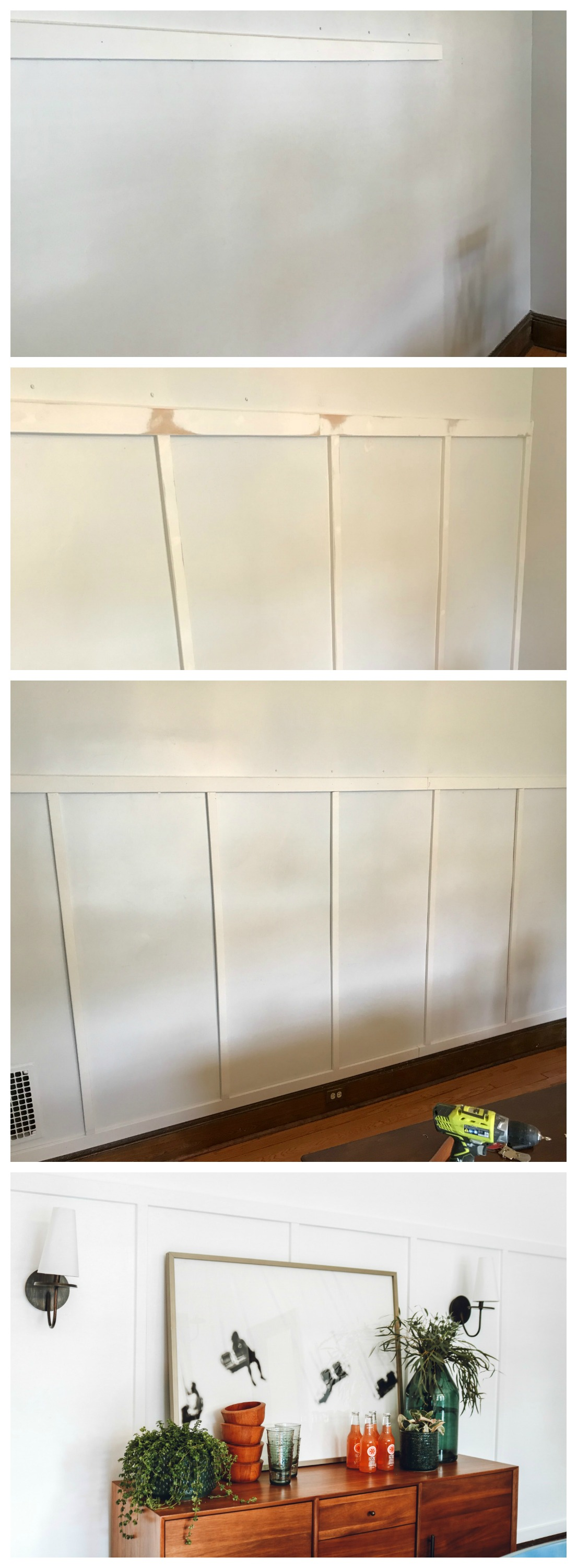 Dining Room Makeover- Board and Batten Bright White Walls