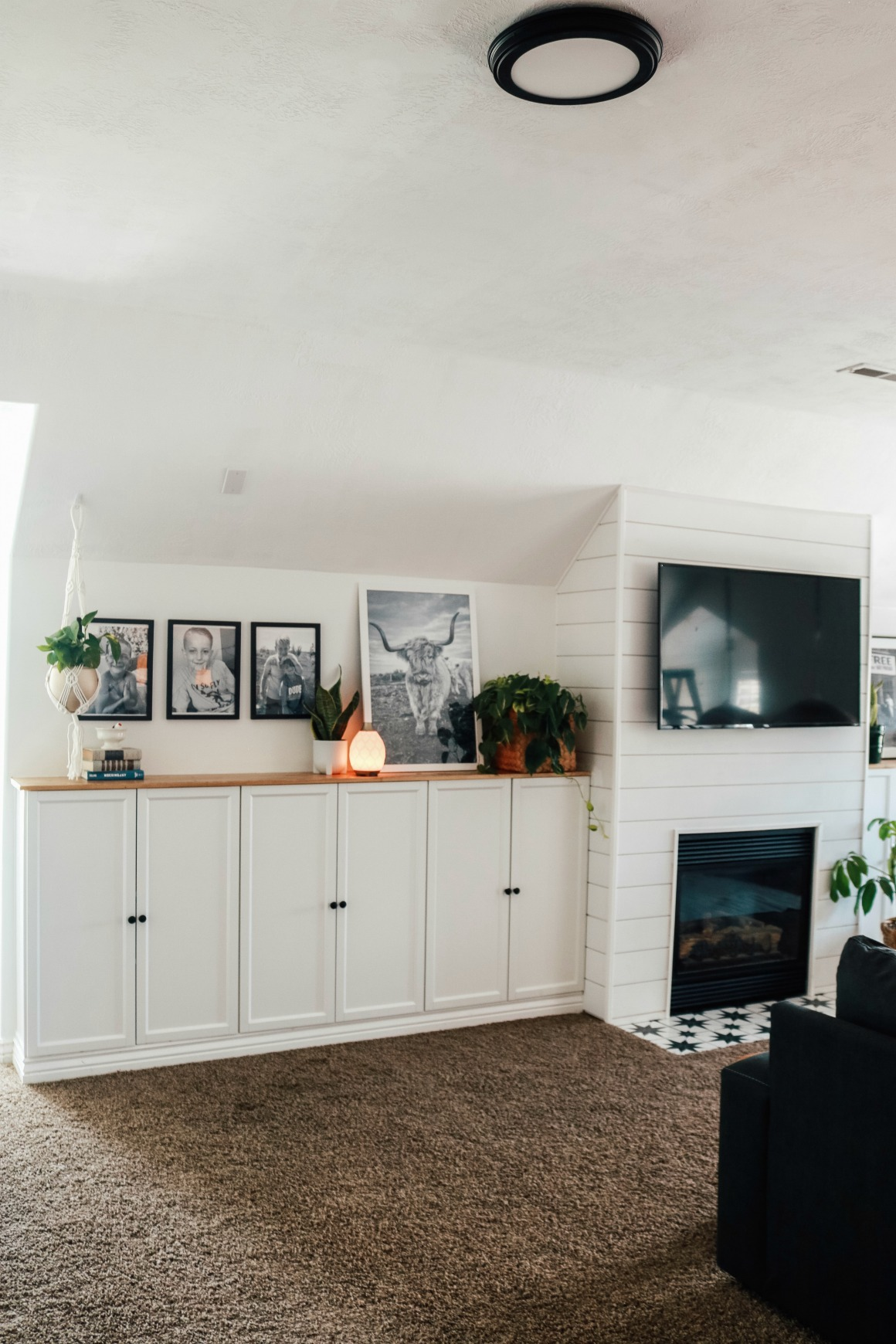 Family Room- Fireplace with Ikea Billy Bookcase