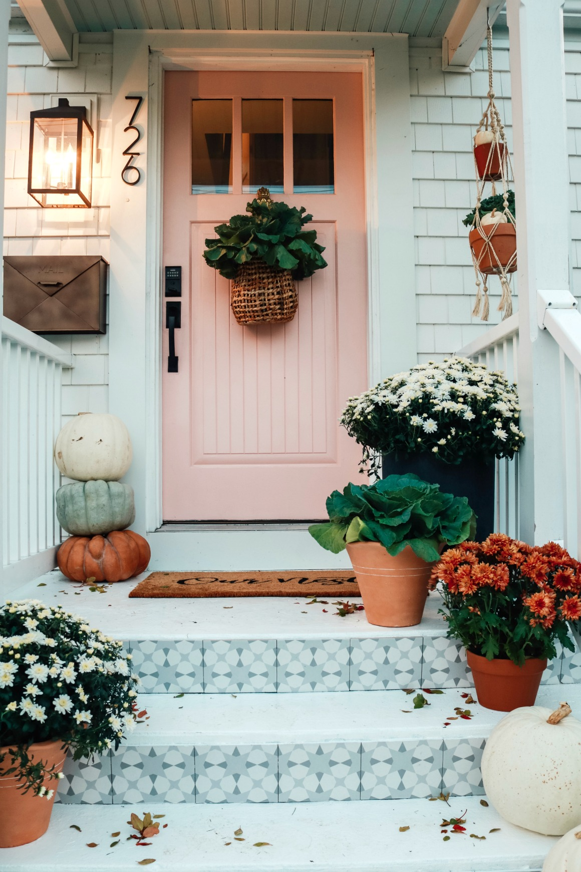 Fall Front Porch Ideas with Tile Front Steps