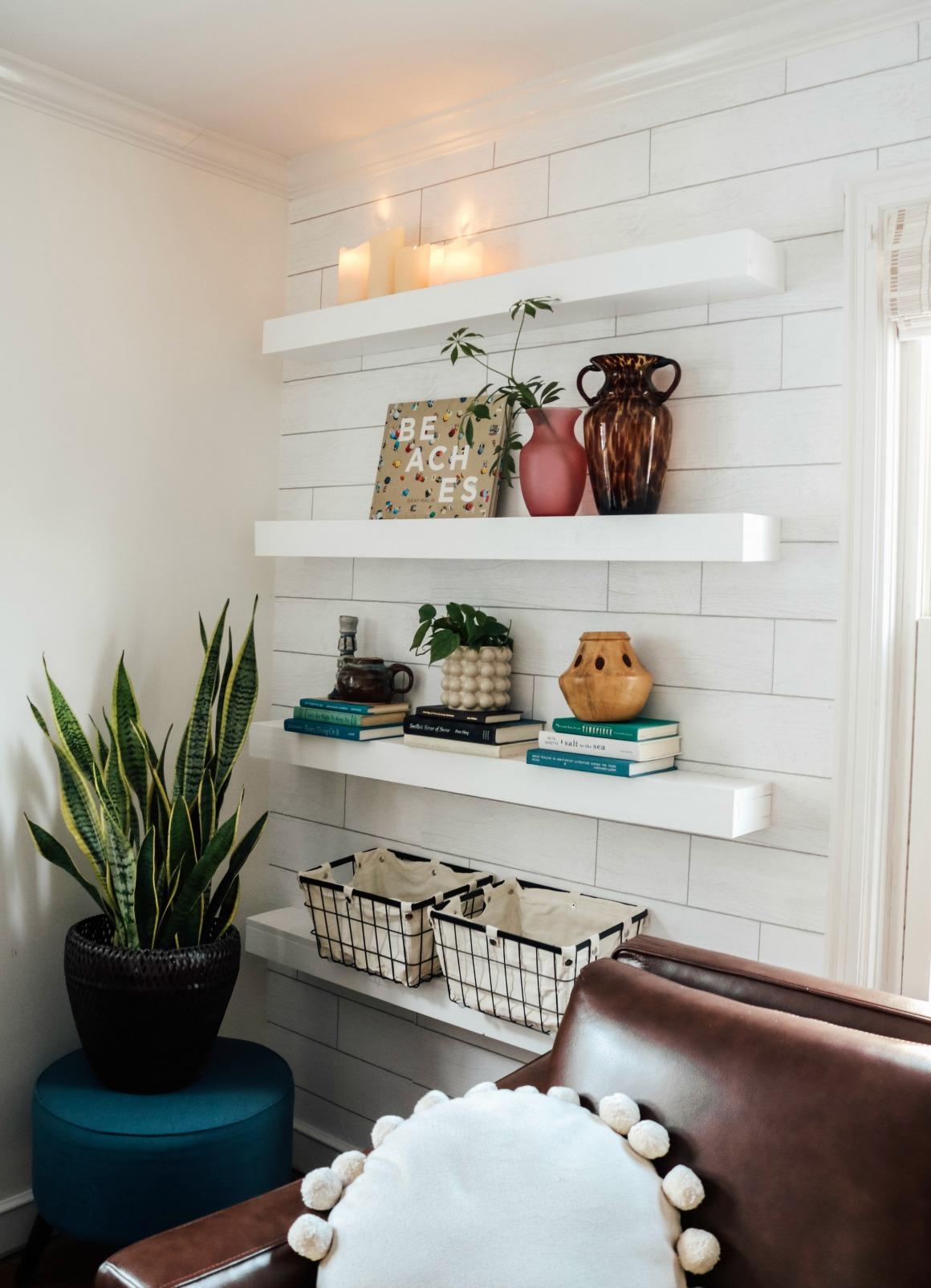 "DIY Floating Shelves- Get the Custom ""built-in"" look with Wallpaper!"