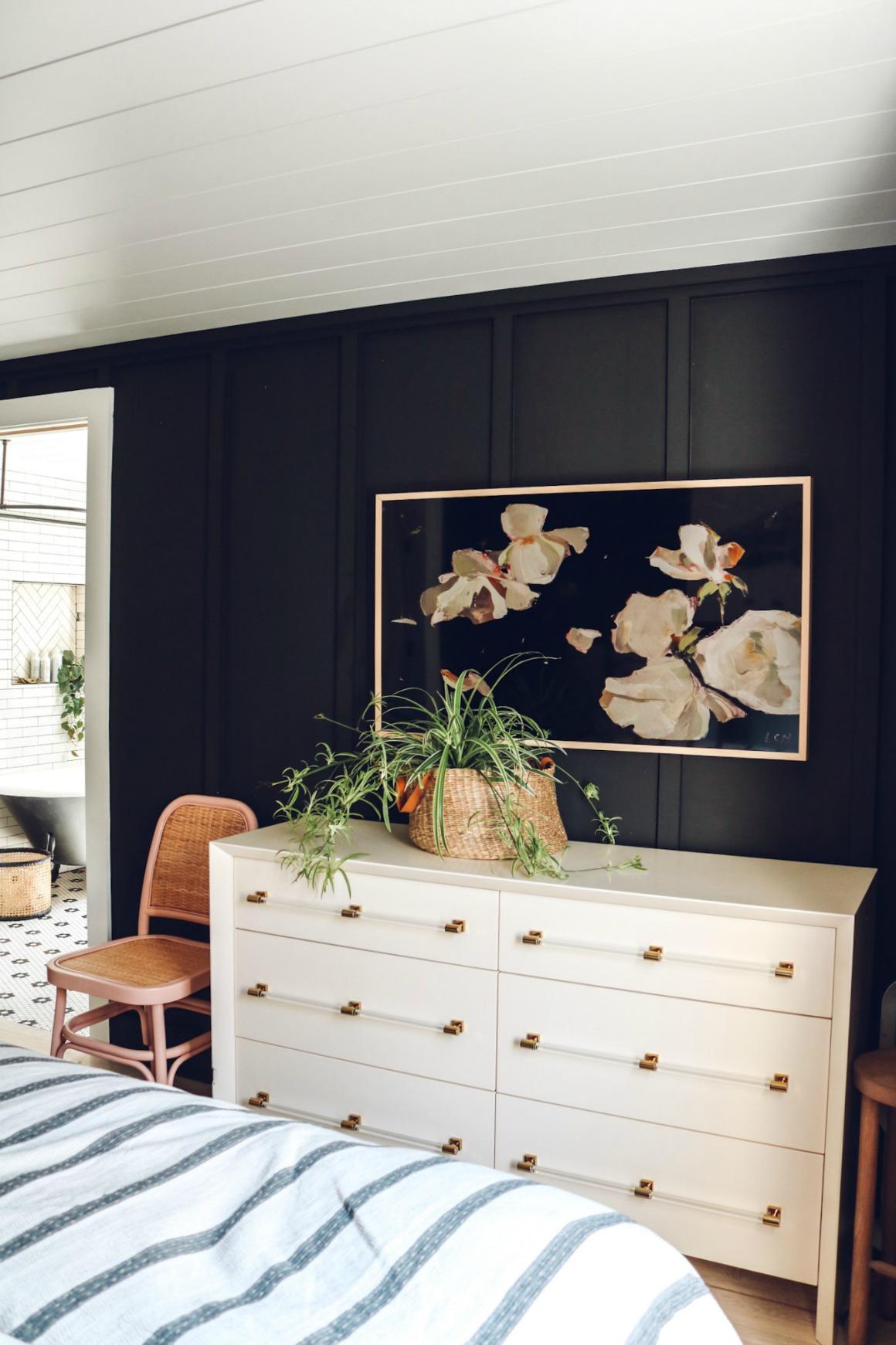 Cozy Master Bedroom with Black Walls