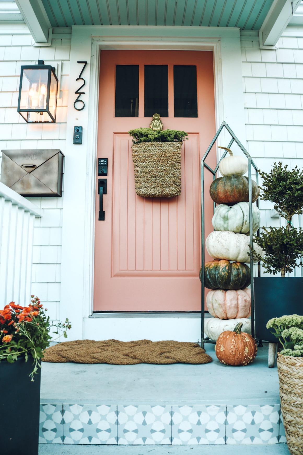 Fall front porch ideas- Salmon Door- Pink Door- Tile Front Steps- Sherwin Williams Salmon River Run